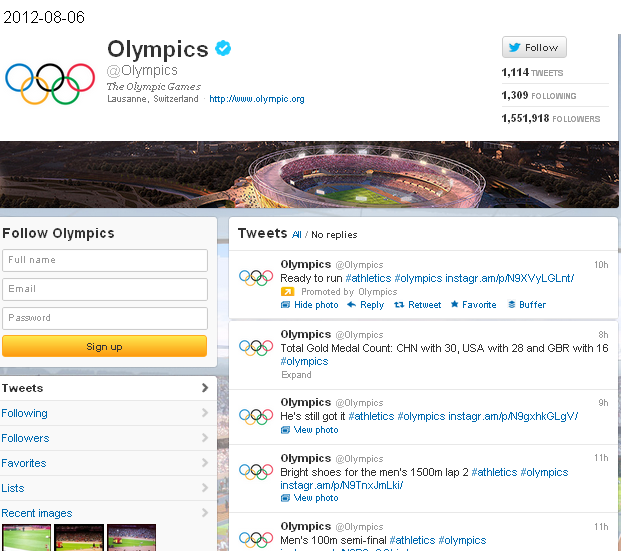 Click on image - Olympics on Twitter - 100-metre final and much more, but few tweets - ADDED VALUE, QUO VADIS?