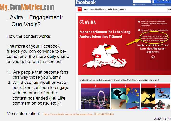 Click on image - Avira launches Facebook contest - After updates you get invited to join, but will you become a loyal and paying fan?