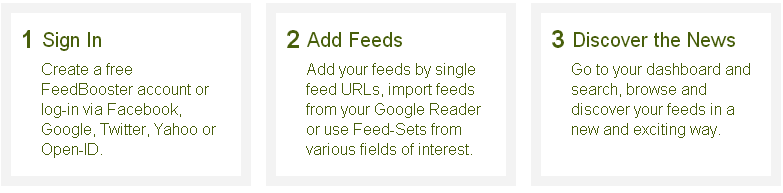CLICK - FeedBooster - Import your previous feeds as an OPML file or start fresh.
