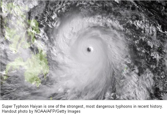 CLICK on IMAGE - One of the most powerful typhoons recorded slammed into the central Philippines on Friday, November 8, 2013, cutting off electricity and telecommunications.