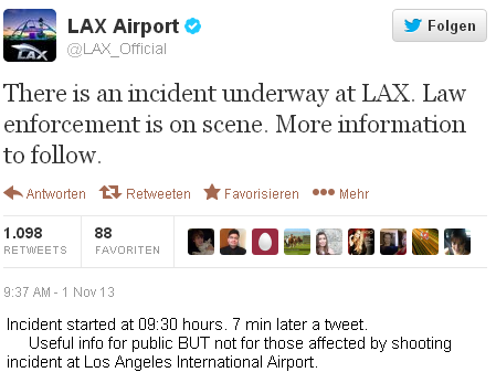 CLICK on IMAGE - LAX shooting incident kills one TSA agent - this tweet was useful to the public, but not to those who were present at the incident.
