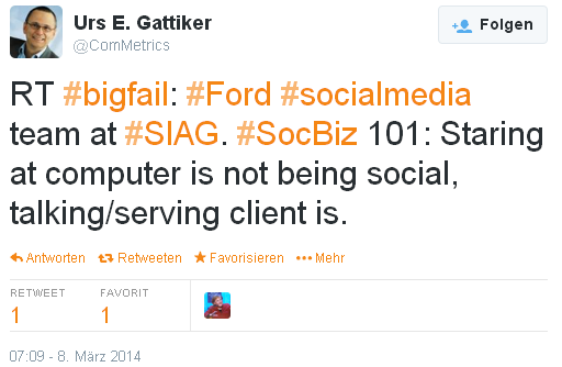 CLICK on IMAGE - #bigfail: #Ford #socialmedia team at #SIAG. #SocBiz 101: Staring at computer is not being social, talking/serving client is.