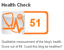 Image - My.ComMetrics Health Check Index - Qualitative measurement of the blog's health. Score out of 51. Could this blog be healthier? For more details, please visit My.ComMetrics.com