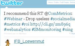 Image - graphic - tweet - @IFB_Loewenmut - Urs E. Gattiker @ComMetrics bietet wöchentliche Kurz-Webinare zu #SocialMedia Themen an http://ow.ly/1t0FE Lohnt sich!