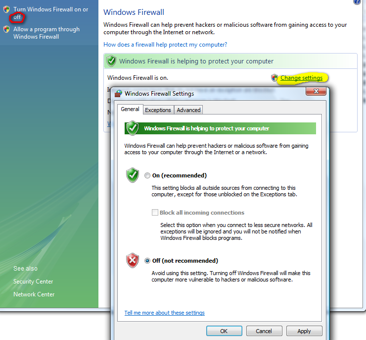 changing your Vista firewall settings