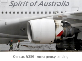 Image - Qantas A380 - emergency landing in Singapore after part of the plane's engine-cover fell off mid-flight.