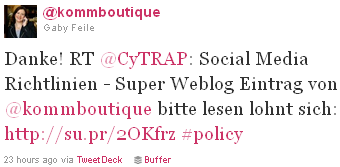 Image - @Kommboutique - tweet - Danke! RT @CyTRAP: Social Media Richtlinien - Super Weblog Eintrag von @kommboutique bitte lesen lohnt sich: http://su.pr/2OKfrz #policy