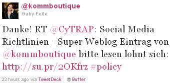 Image - @Kommboutique - tweet - Danke! RT @CyTRAP: Social Media Richtlinien - Super Weblog Eintrag von @kommboutique bitte lesen lohnt sich: http://su.pr/2OKfrz #policy