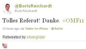 Ostschweizer Marketing Forum - Twitter Feed - @BorisReichardt Tolles Referat! Danke. #OMF11
