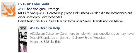 Für Kundenservice besuchen Sie bitte unser Facebook Seite - ASOS Here to Help