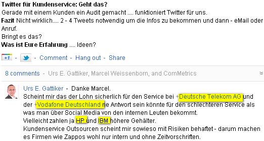Google+ Diskussion - Vodafone und Deutsche Telekom - Kunden wird schneller geholfen wenn die Anfrage über Twitter oder Facebook kommt als über das Call-Center - warum?