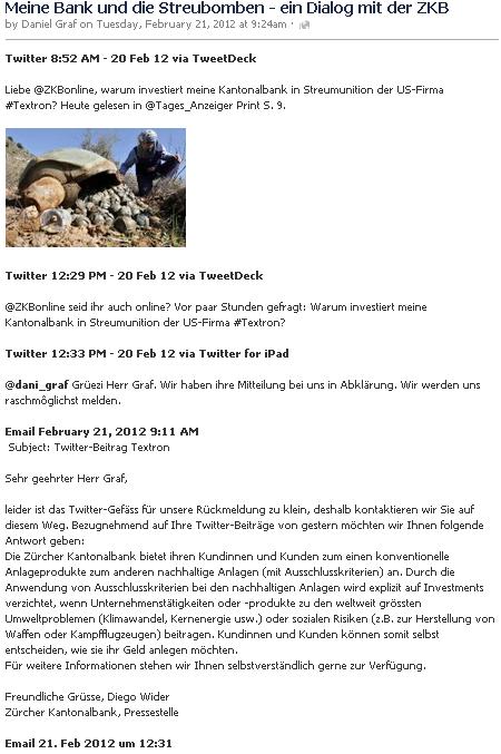 Daniel Graf - Meine Bank und die Streubomben - ein Dialog mit der ZKB - auf Twitter und Facebook
