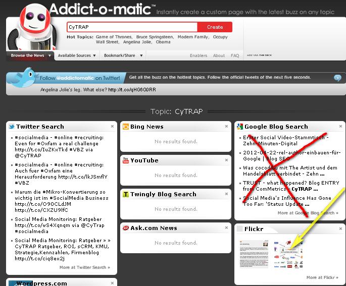 Klick auf Image - Addict-o-Matic SM Monitoring - fuer CyTRAP nichts, Mammut ein wenig - oft aeltere Angaben