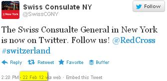 Foto anclicken - Schweizer Generalkonsulat New York - der erste Tweet im Februar 2012.