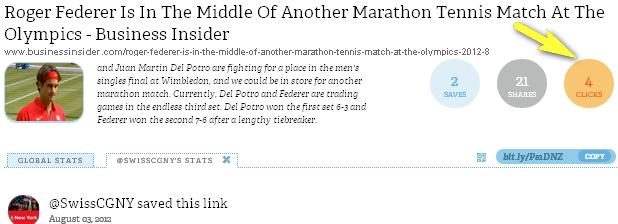 Foto anklicken - Tweet vom Schweizer Generalkonsulat New York - Roger Federer gewinnt in London 2012 - Halbfinal - RESONANZ = 4 Clicks - nicht befriedigend.