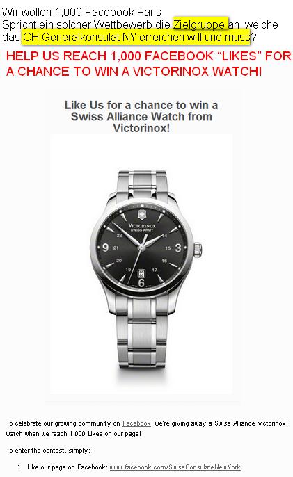 Foto anklicken - Wie das Schweizer Generalkonsulat New York Facebook Fans gewinnt - Wettbewerb - 1000ter Fan gewinnt Victorinox Messer.