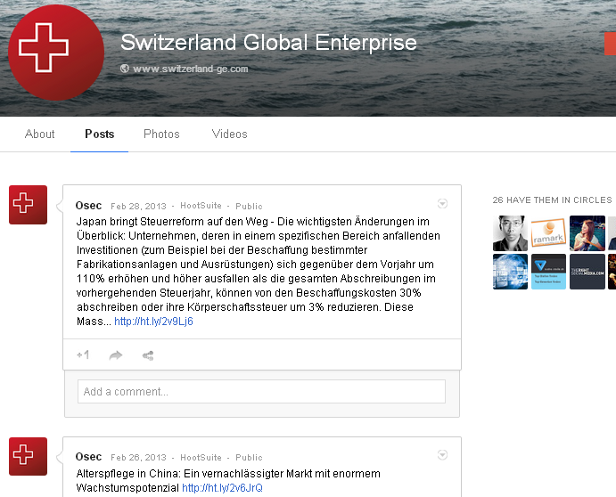 ANKKLICKEN - Die Google Plus Seite von OSEC - jetzt Switzerland-GE - Funktstille