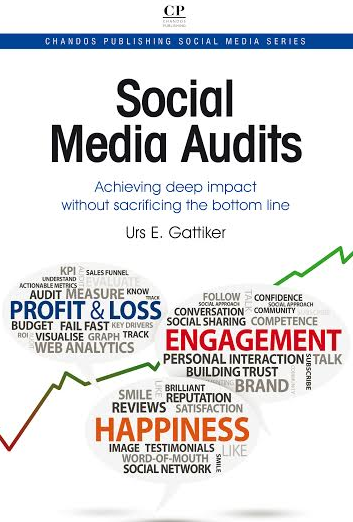 CLICK - 25% discount - more info: Gattiker, Urs E. (2014). Social Media Audits: Achieving deep impact without sacrificing the bottom line – ISBN 978-1-84334-745-3 (print) ISBN 978-1-78063-426-5 (e-book)