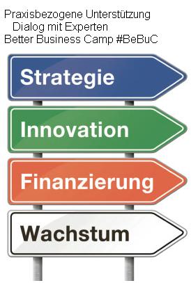 GRAFIK Anklicken - Praxisbezogene Gespräche und Rat von Experten am #BeBuC: Ohne eine Strategie was verkaufen zu wollen ist Schwachsinn.
